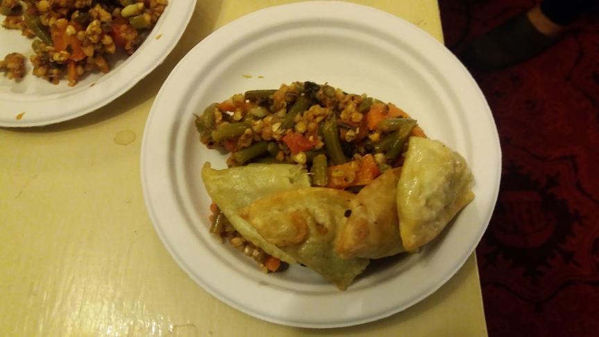 Momos and buckwheat salad